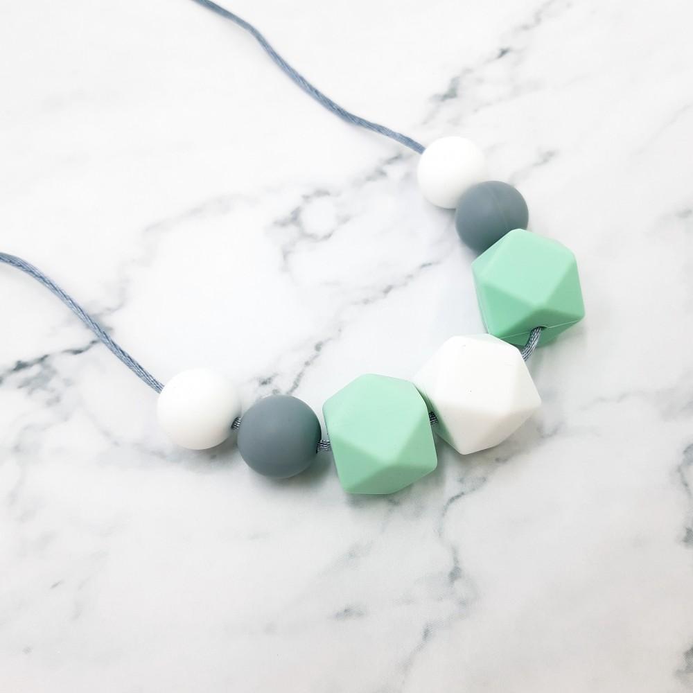 Nursing necklace - mint grey