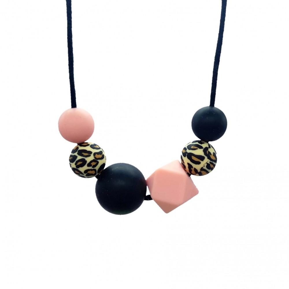 Nursing necklace - Leopard pink