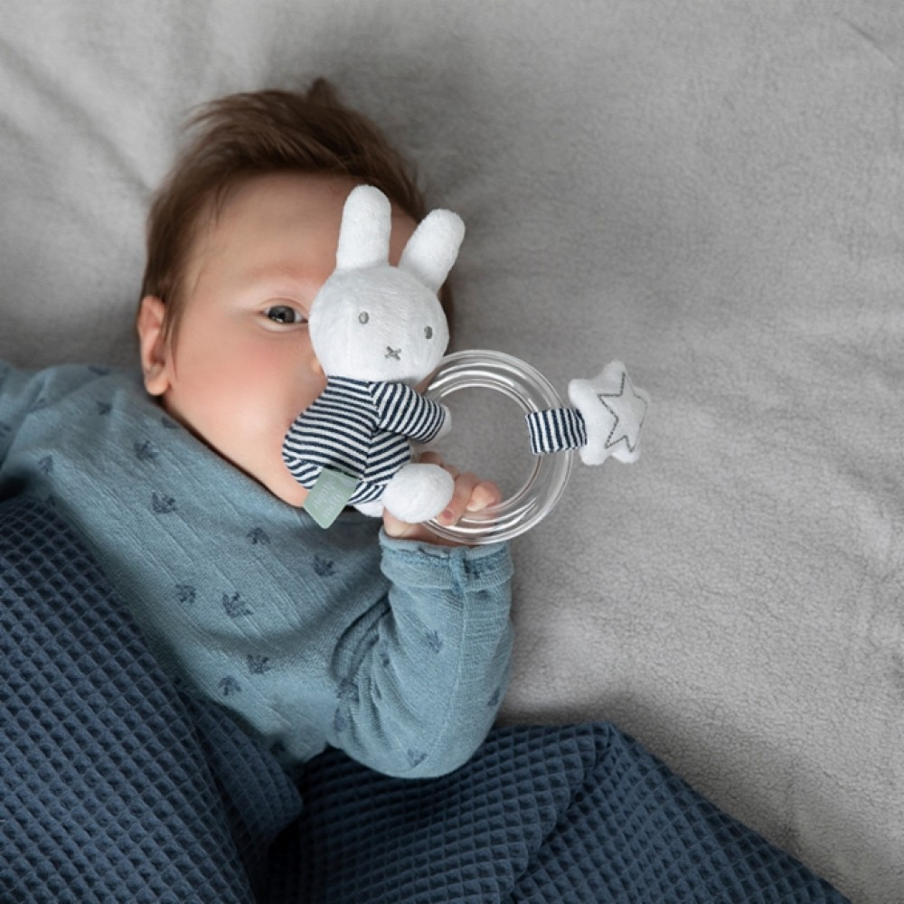 MIFFY ABC BUNNY RATTLE | BLUE-WHITE SRIPED