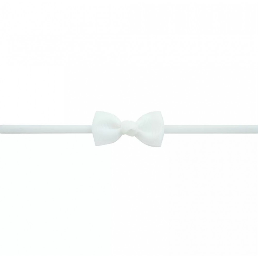 Baby band with small bow - White