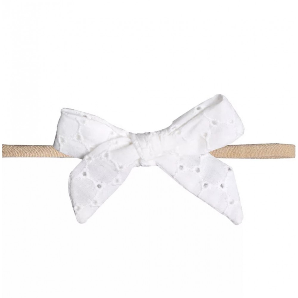 Headband with a bow - white lace