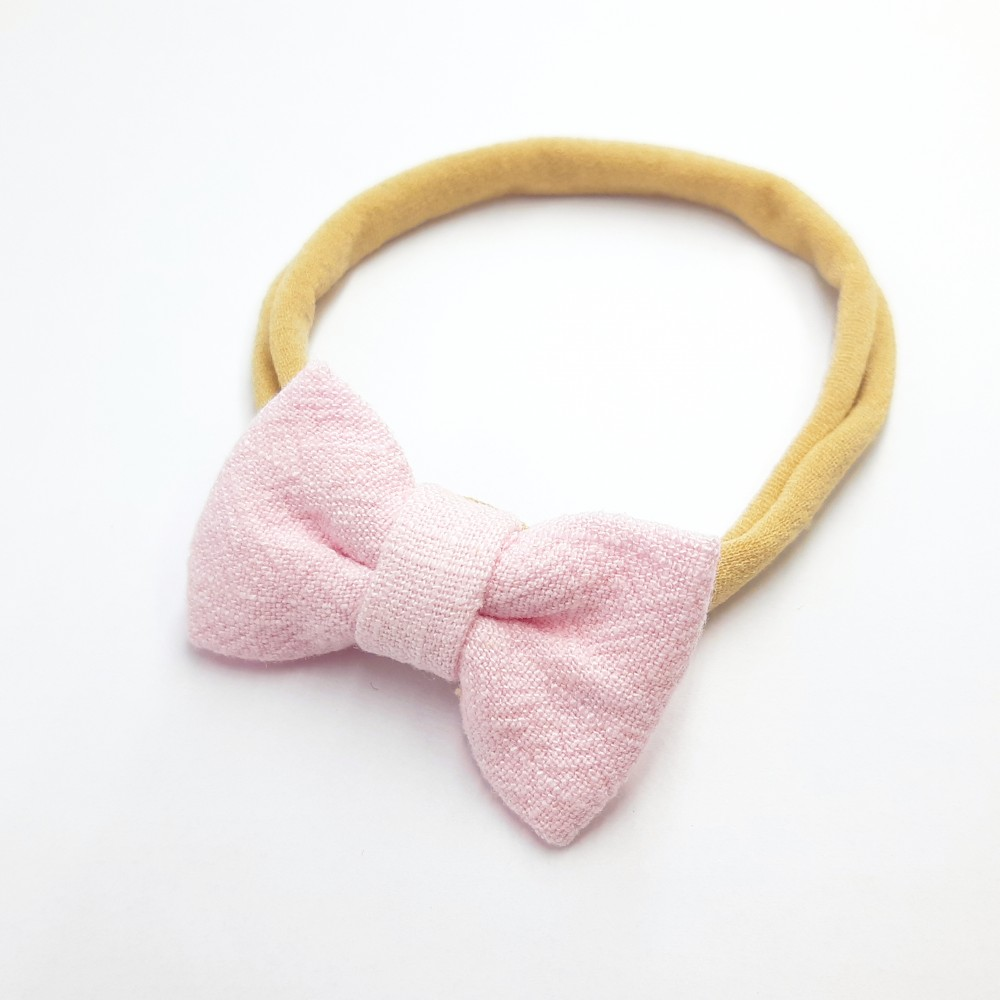 Baby band with small bow - Baby pink