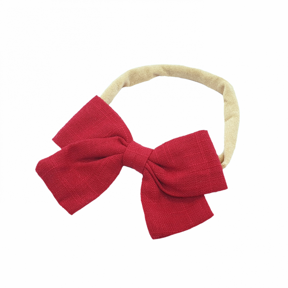 Bow headband - Dark red