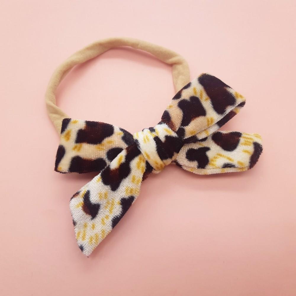 Bow headband - Velvet Leopard