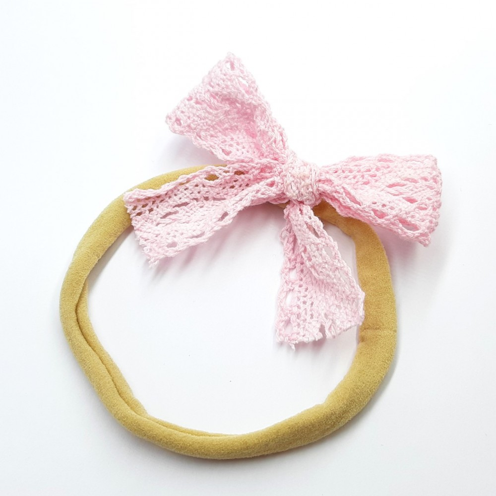 Nylon band with lace bow - Pink
