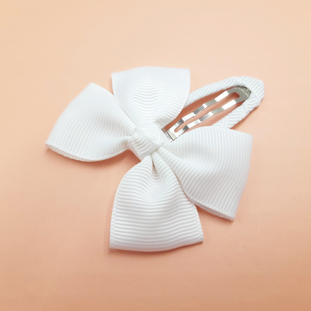Hair clip with the bow - White