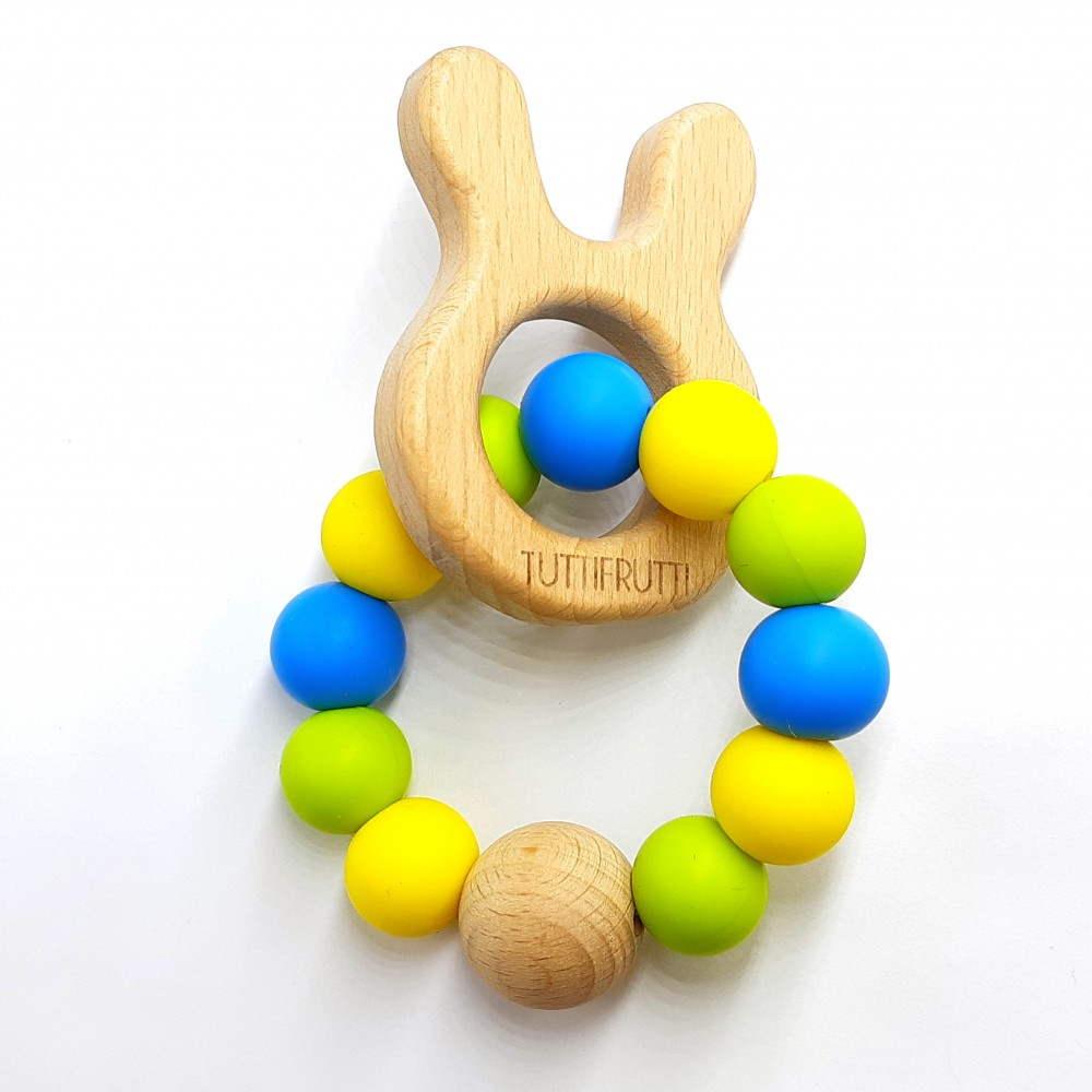Wooden bunny - Blue/ yellow/ lime