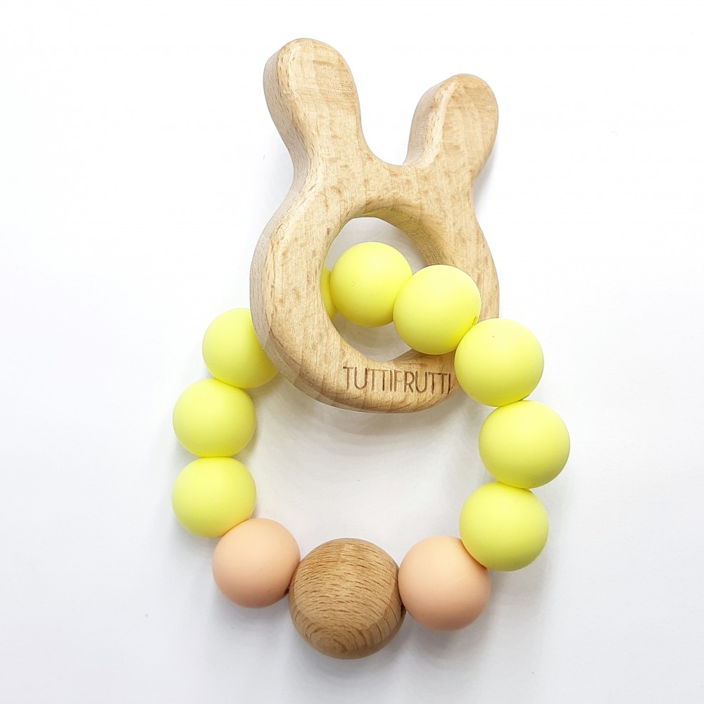 Wooden bunny - Baby yellow