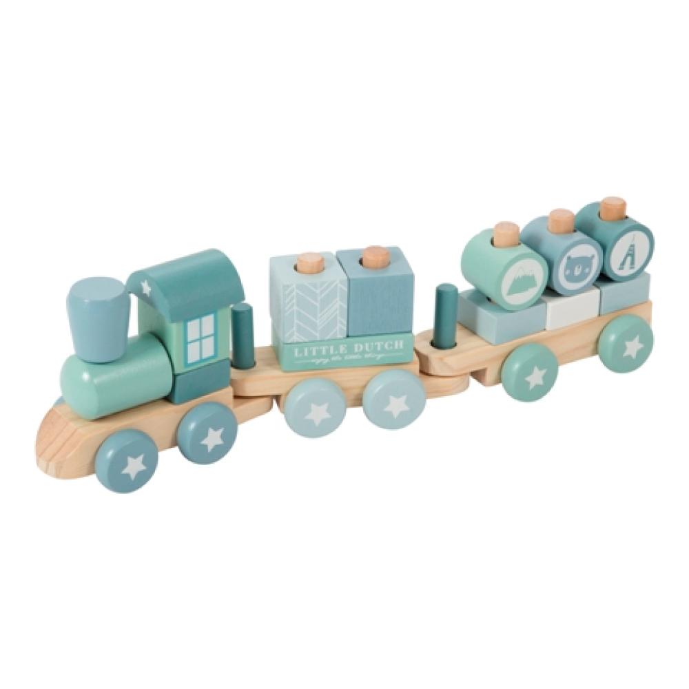 LITTLE DUTCH WOODEN TRAIN - ADVENTURE BLUE 12kk+