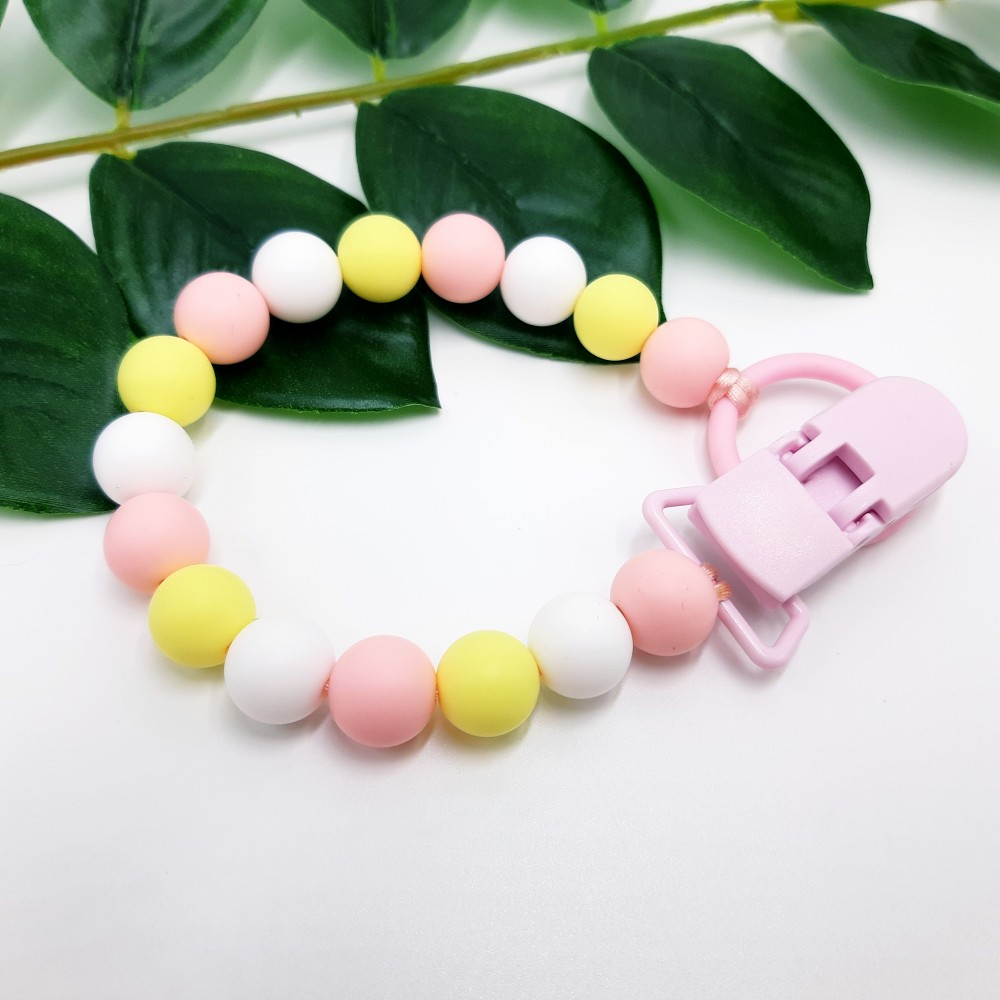 Pacifier clip - Baby pink yellow