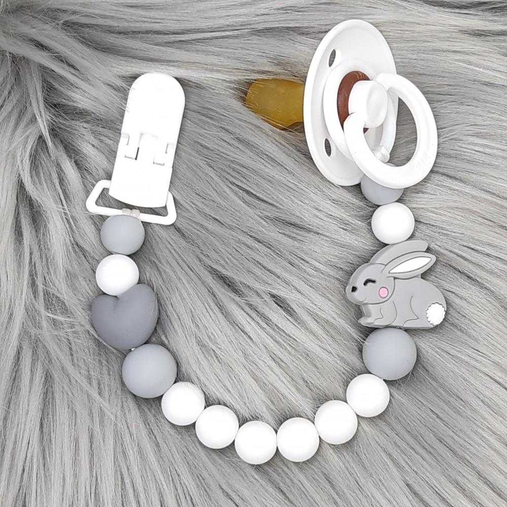 Pacifier clip - Baby bunny Grey