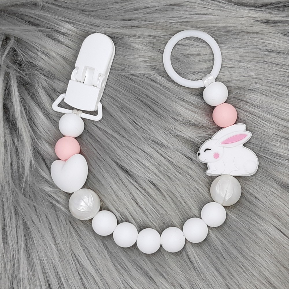 Pacifier clip - Baby bunny White
