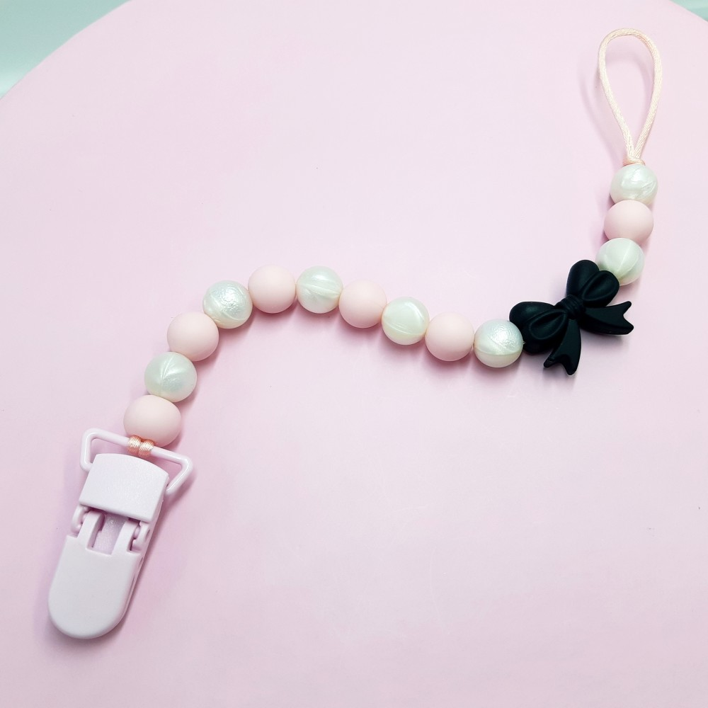 Pacifier clip - Bow Pink pearl