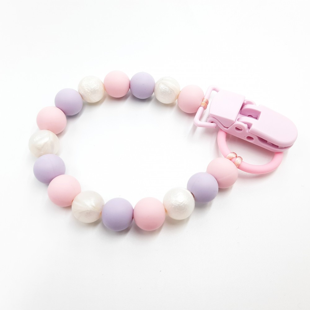 Pacifier clip - Baby purple pink
