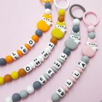 Custom made pacifier clip | White alphabets