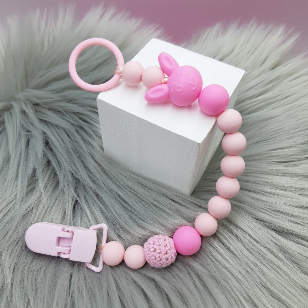 Pacifier clip - Bunny Pink