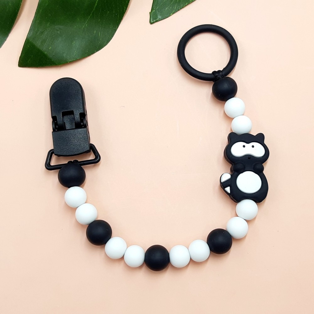 Pacifier clip - Black & white raccoon