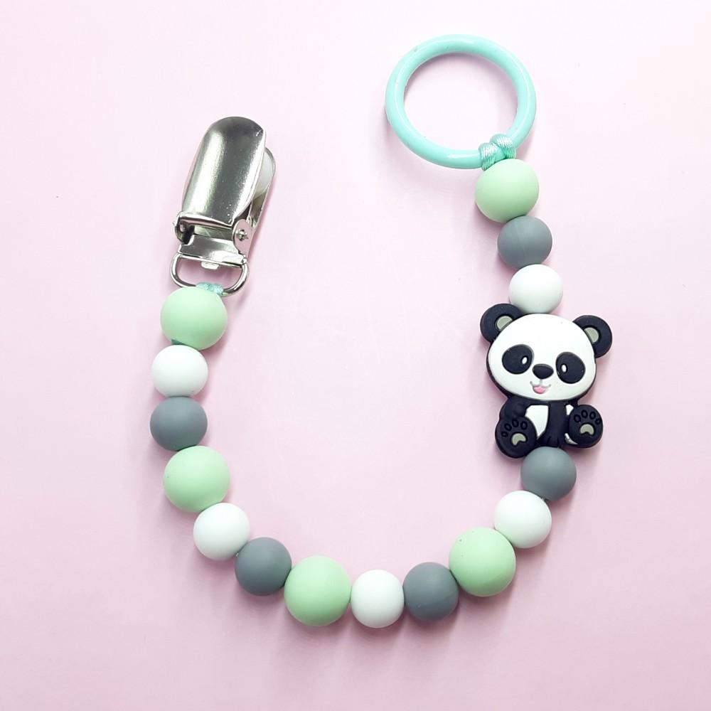 Pacifier clip - Baby panda | Mint