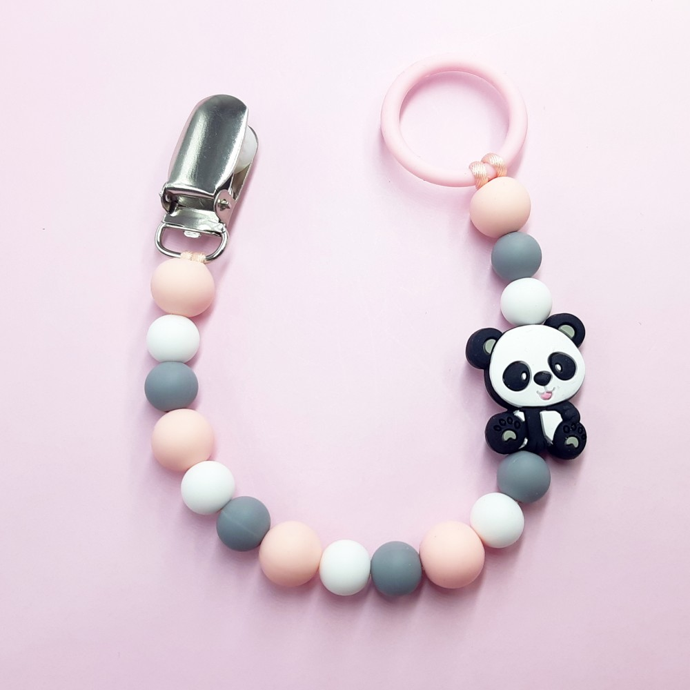 Pacifier clip - Baby panda | Pink