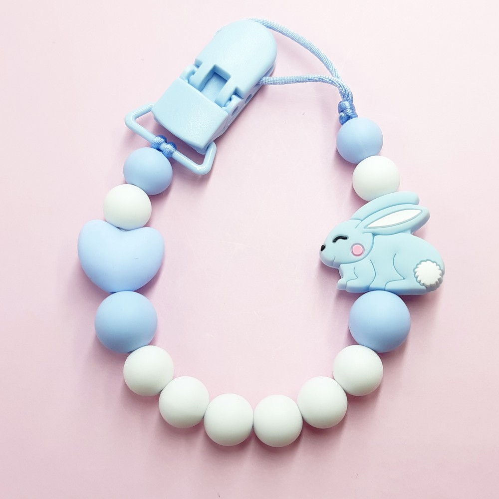 Pacifier clip - Baby bunny blue